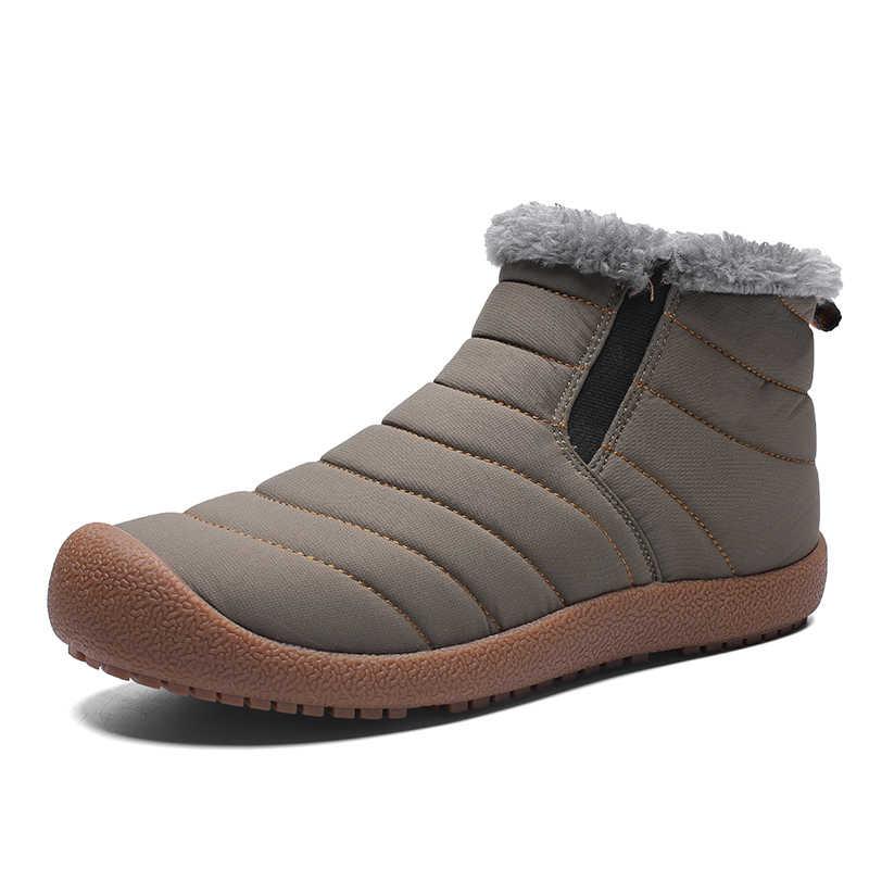 2019 Mode Winter Mannen Laarzen Waterdicht Comfortabele Snowboots Bont Warm Enkel Schoenen Mannen Schoeisel Mannelijke Lichtgewicht Nieuwe LargeSize