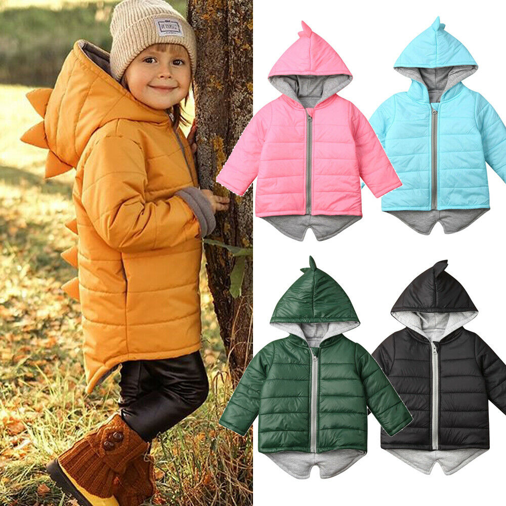 Autumn Winter Kids Baby Girl Boy Dinosaur Coats Hoodies Parkas Long Sleeve Zipper Warm Outerwear Children Solid Coats 1-7Y