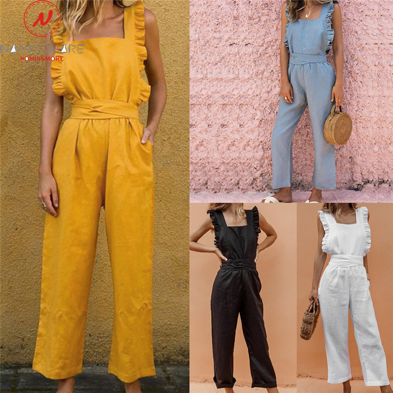 Rompers Womens Jumpsuit For Streetwear Ruffles Decor Square Colloar Sleeveless Backless Solid Color Summer Bandage Jumpsuits