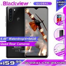 Blackview a80 pro 6.49 pro 4 4gb 64gb android 9.0 4g smartphone helio p25 quad câmeras versão global 4680mah telefone móvel