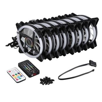 Computer PC Case Fan RGB Adjust LED Fan Quiet Remote Computer Cooler Cooling RGB Case Fans (8PCS+1 Controller)