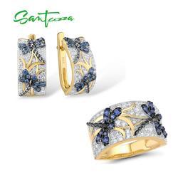 Женский ювелирный набор SANTUZZA, серебро 925 пробы, чистое серебро 925 пробы, золотой цвет, изысканная синяя стрекоза, модный подарок, изысканные ю...