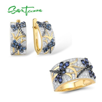 SANTUZZA 925 Silver Jewelry Set For Women Pure 925 Sterling Silver Gold Color Delicate Blue Dragonfly Trendy Gift Fine Jewelry
