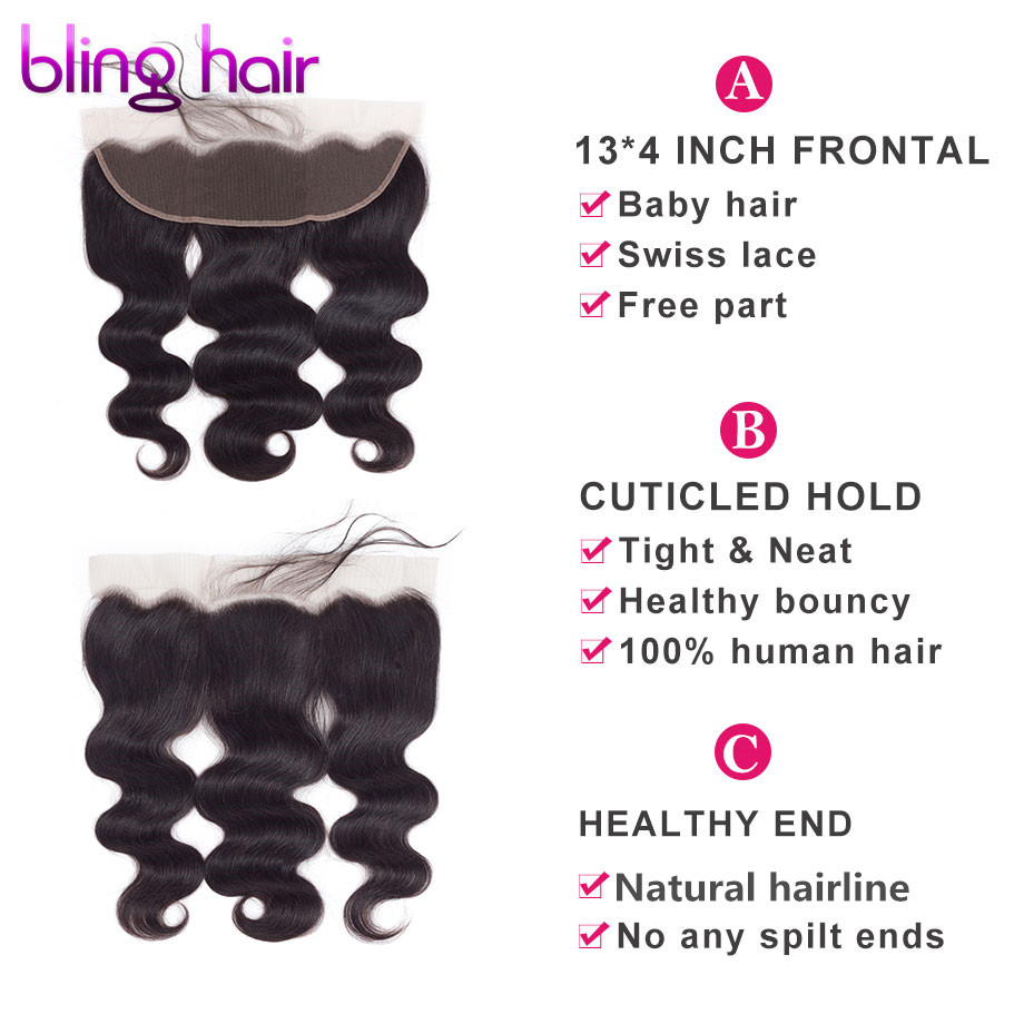 Image 3 - Bling Hair Body Wave Lace Frontal Human Hair Closure with Baby Hair 13*4 Middle/Free/Three Part Brazilian Remy Hair Nature Color-in Closures from Hair Extensions & Wigs