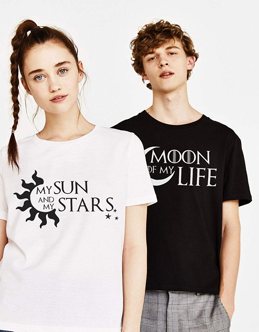 Couple Tshirt Valentine's Day Gift His and Hers Love Shirts Moon of My Life My Sun Stars Funny Cotton Women Lovers Bff tshirts image
