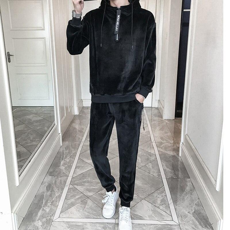 Men Hooded Winter New Plus Velvet Thickening Men'S Hooded Casual Suit Mens Sportswear Two-Piece Fashion Slim Male Sportswear