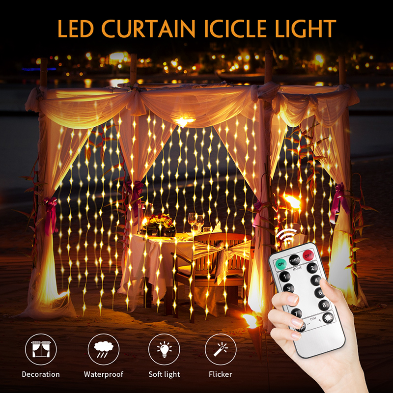 Led Lights Decoration USB Power With Remote 3M X 3M Led Icicle Curtain Lights Fairy Light Christmas Lights Outdoor Led String