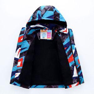 Image 3 - Sporty Geometric Print Kids Outfits Warm Fleece Child Coat Waterproof Baby Girls Boys Jackets Children Outerwear For 98 152cm