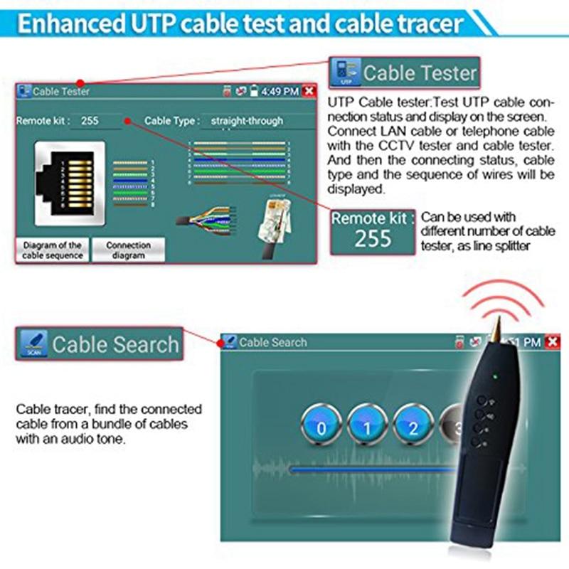 Testeur de IG CCTV moniteur X7 H.265 4K 8MP TVI CVI AHD SDI CVBS testeur de caméra IP avec TDR, multimètre, prise de câble - 3