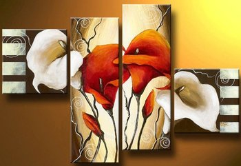 Hand-painted Lily Abstract Flower Painting Modern Canvas Wall Art Abstract Wall Painting Artwork for  Home Living Room Wall Déco