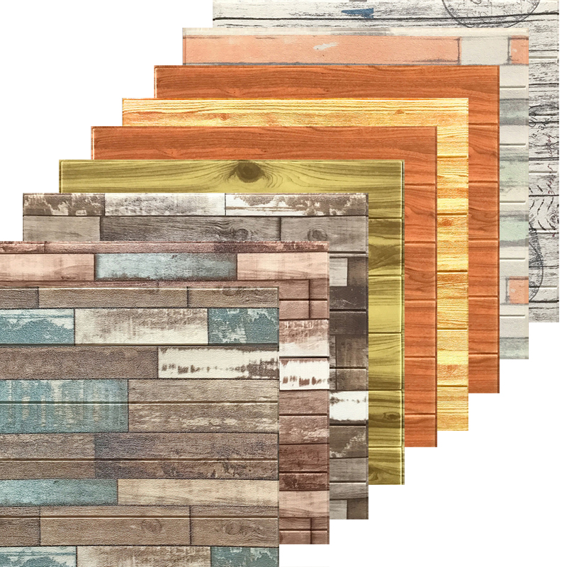 70*70 Mediterranean Vintage 3D Wood Stripes Wall Stickers DIY PE Foam Self-adhesive Living Room Bedroom Home Decor Wallpapers
