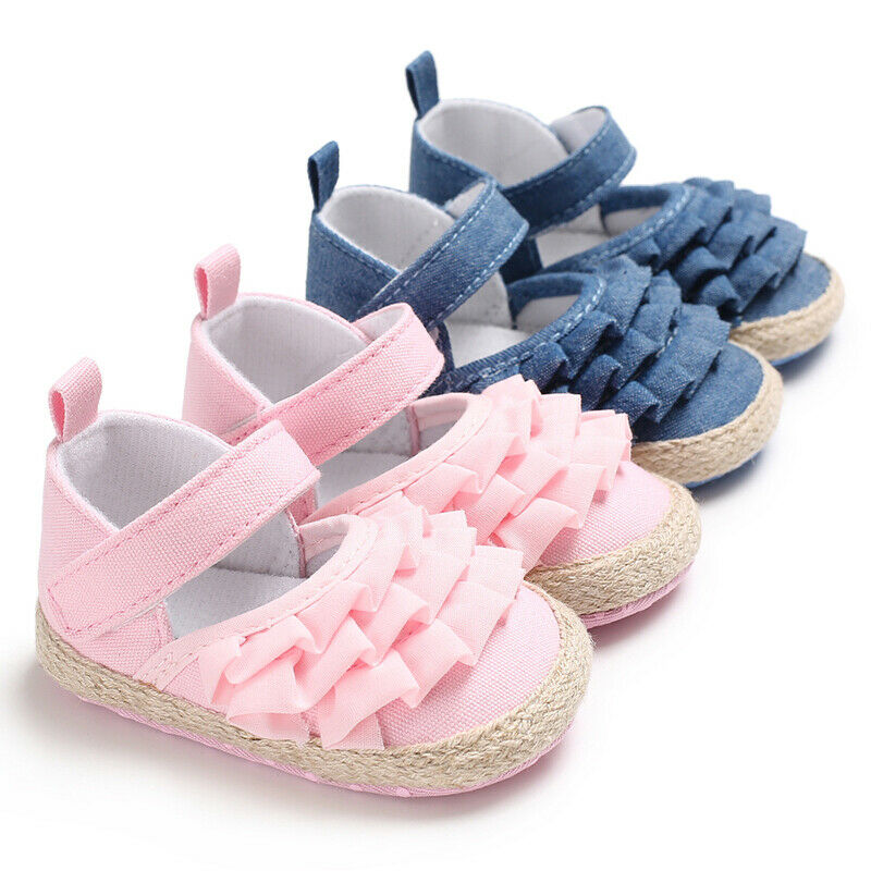 0-18M Newborn Infant Baby Girl Shoes Princess Denim Ruffles Non-Slip Baby Shoes First Walkers