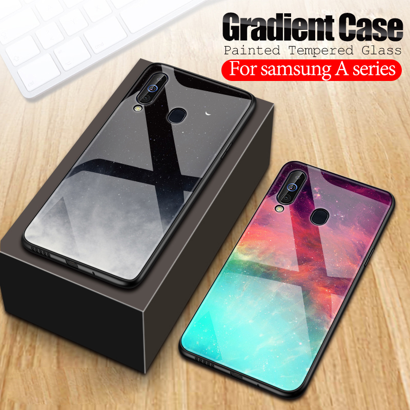 Gradient tempered <font><b>glass</b></font> <font><b>case</b></font> For <font><b>samsung</b></font> a50 2019 marble Painted Cover on For <font><b>samsung</b></font> Galaxy a30s a50s a10 a70 a40 a30 a20 coque image