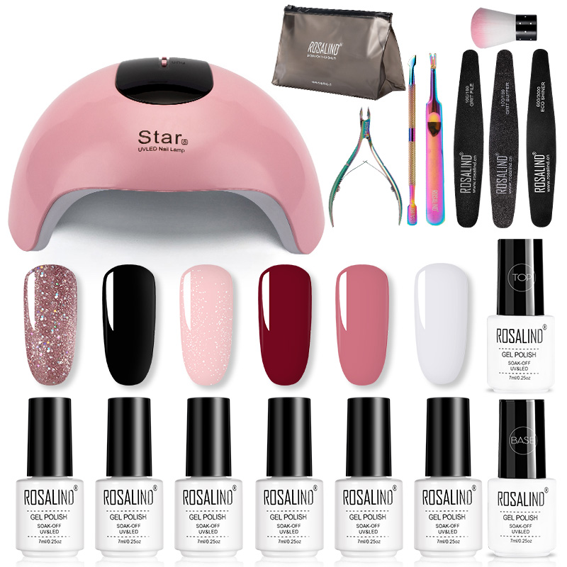ROSALIND Nail Sets For Manicure Nail Art Gel Nail Polish Kit UV LED Lamp Manicure Extension Soak Off  Base Top Coat  Gel Set