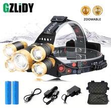 Super bright LED Headlamp 5 x T6 Lamp bead Waterproof Headlight Zoomable fishing lamp camping Use 18650 battery