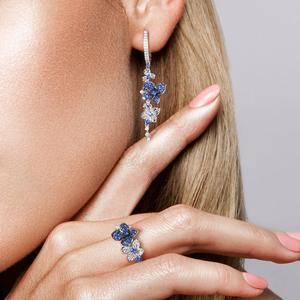 Image 5 - Женские серебряные сережки SANTUZZA из чистого серебра 925 пробы с синими бабочками, модные ювелирные изделия