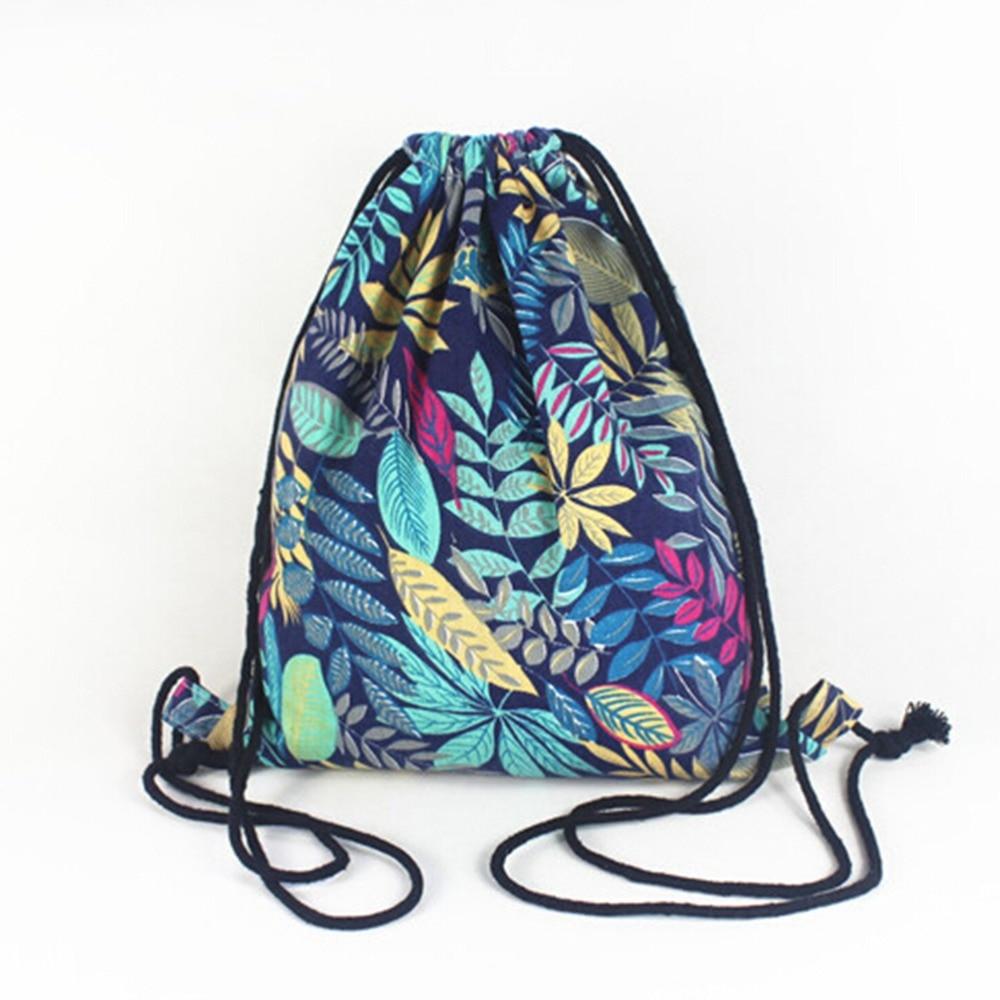 Women Drawstring Backpack Student Vintage School Bag Summer Leaf Pattern Oxford String Shoulder Bags Rucksack Sack Bag