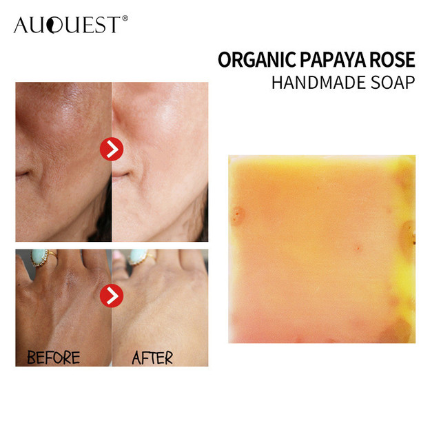 Papaya Rose Handmade Essential Oil Soap Botanical Soap Facial Soap Bath Skin Lightening Care Intimate Private Crystal Body Face 1