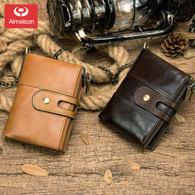 Genuine leather  vintage wallet men with coin pocket short wallets small zipper walet with card holders man purseASBD001