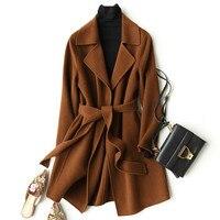 2020 Wool Coat Women Long Jacket Woolen Korean Coat Spring Autumn Womens Coats Brown Abrigos Mujer Elegante KQN37033 1 KJ2328