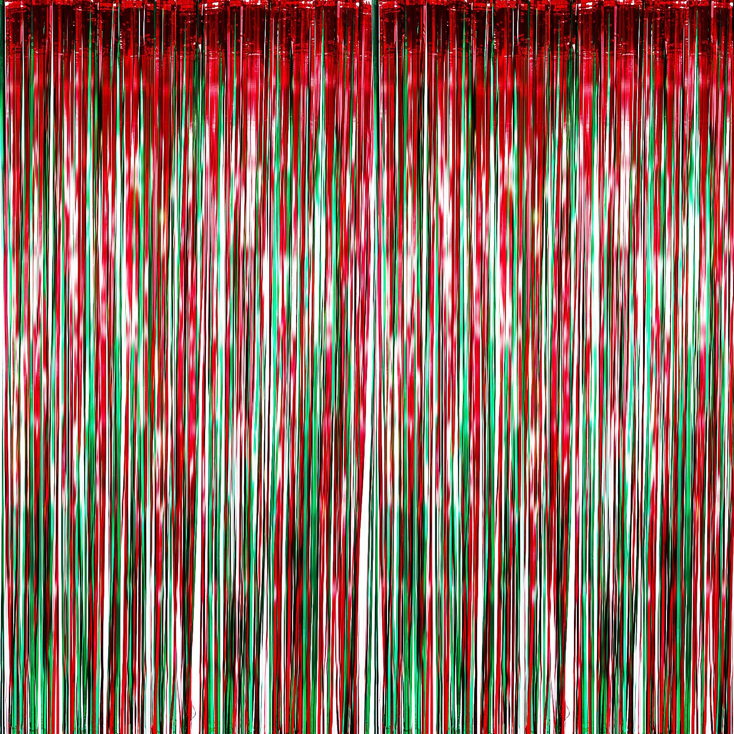 METABLE 4 Pack Foil Curtains Metallic Fringe Shimmer Curtain for Birthday Wedding Party Christmas Decorations