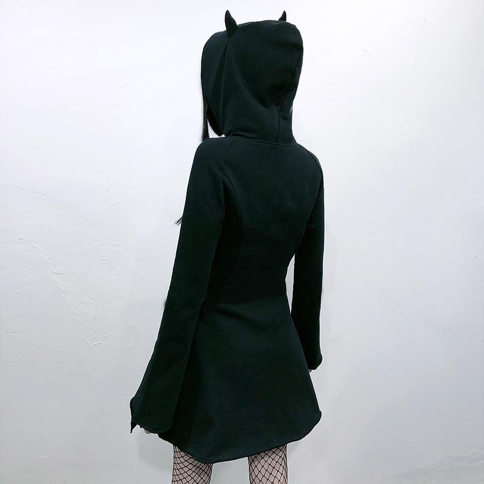 vestido Women s Gothic clothing Dress Cat Ear Hoodie Pullover Long Sleeve Hooded Cute Sweatshirt Dress