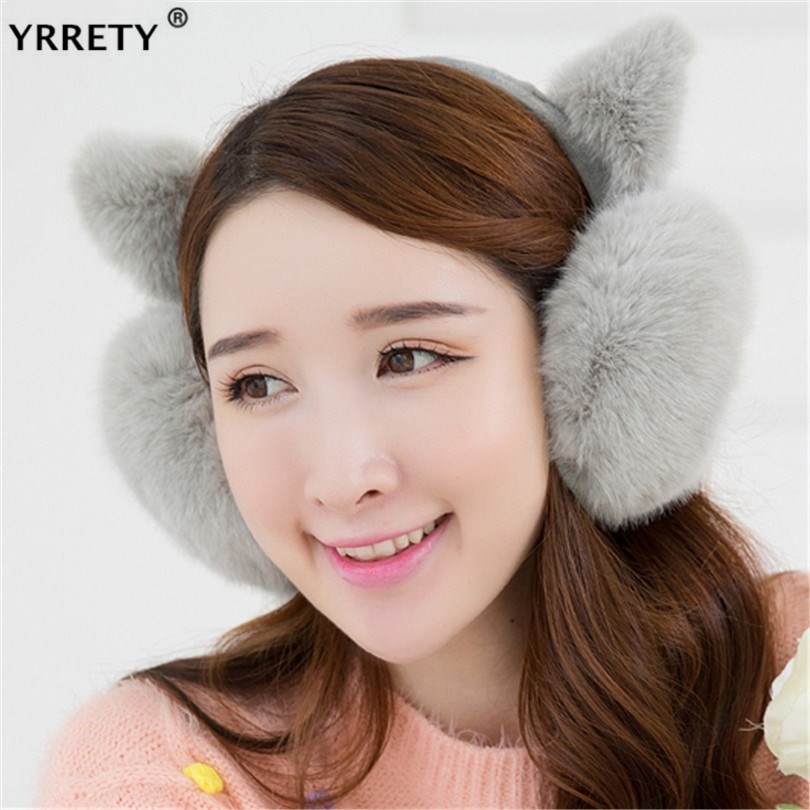 YRRETY Winter Fashion Lovely Girl Ear Fur Earmuffs Anti-cracking Keep Warm Earmuffs Cute Rabbit Fur Ear Hairy Cover Headphones
