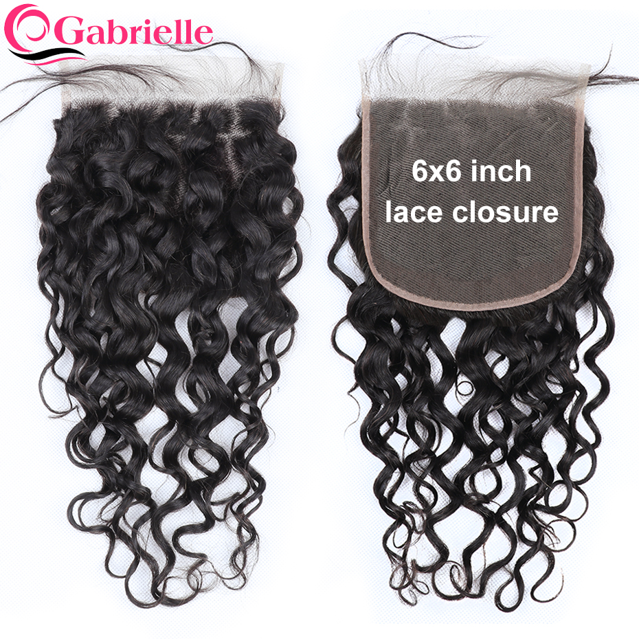 Gabrielle Lace Closure Remy-Hair Water-Wave Pre-Plucked Brazilian 6x6 with Baby 6/By/6-closure/Free-part