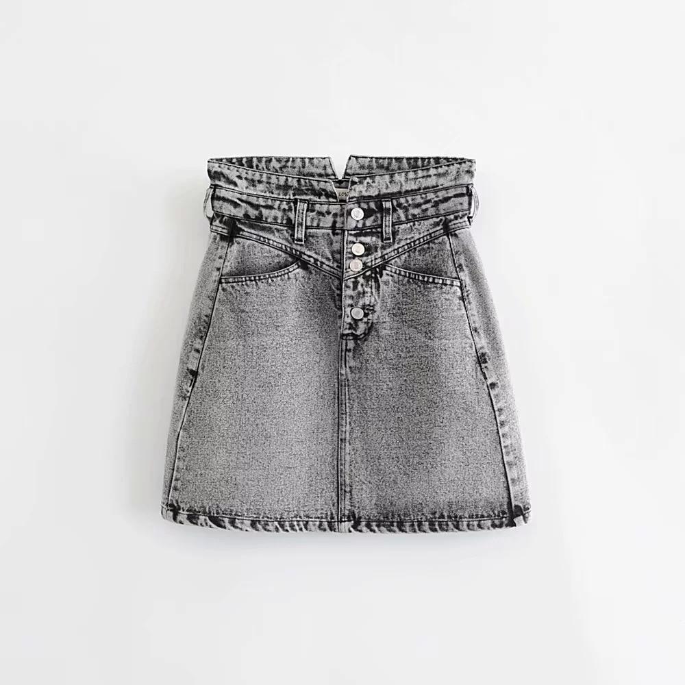 2019 New Products INS Europe And America WOMEN'S Dress Pickling Black Silk Mini Skirt Denim Skirt Skirt