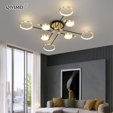 Plafonnier intérieur en aluminium au cadre doré, design moderne, luminaire décoratif de plafond, idéal pour un salon ou une chambre à coucher, nouveau modèle