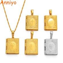 Anniyo DIY Keeping Photo Pendant Necklace Women Muslim Jewelry,Gold Color Islam Arab Iran/Holy Bible/Cross/Allah Box #071502