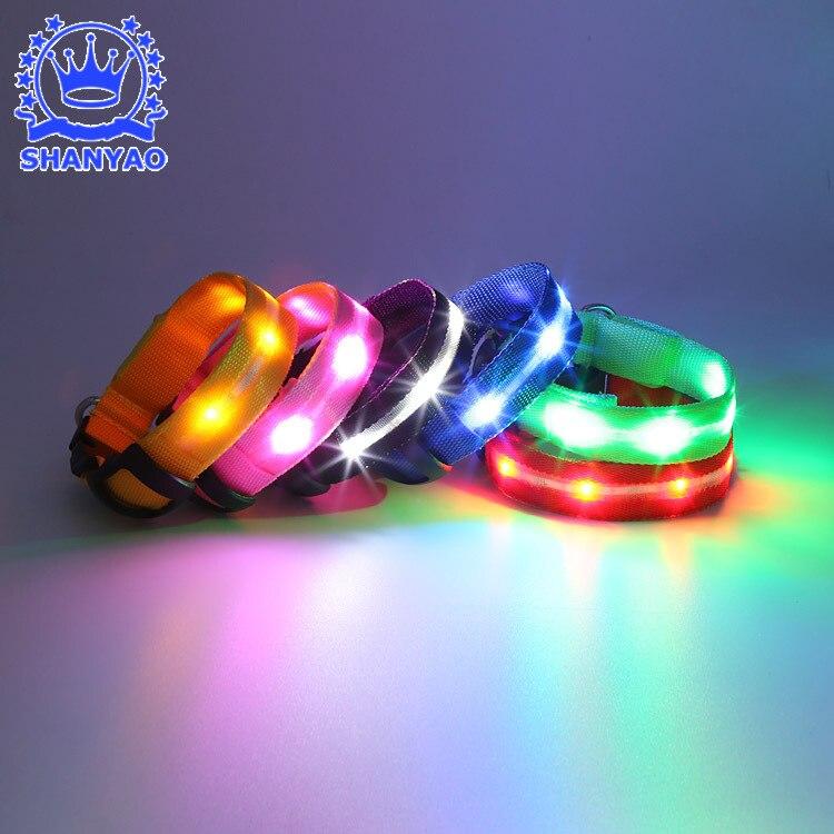 LED Shining Pet Dog Collar Night Light Dog Traction Rope Medium Large Dog Flash Necklace Pet Supplies Dongguan