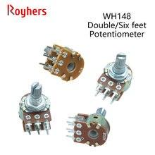 2Pcs WH148 1K 2K 5K 10K 20K 50K 100K 500K 6Pin 15mm Shaft Amplifier Dual Stereo Potentiometer B1K B2K B5K B10K B20K B50K B100K