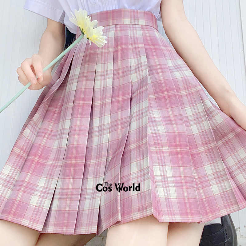 [Drunken Face] Girl's Summer High Waist Pleated Skirts Plaid Skirts Women Dress For JK School Uniform Students Cloths