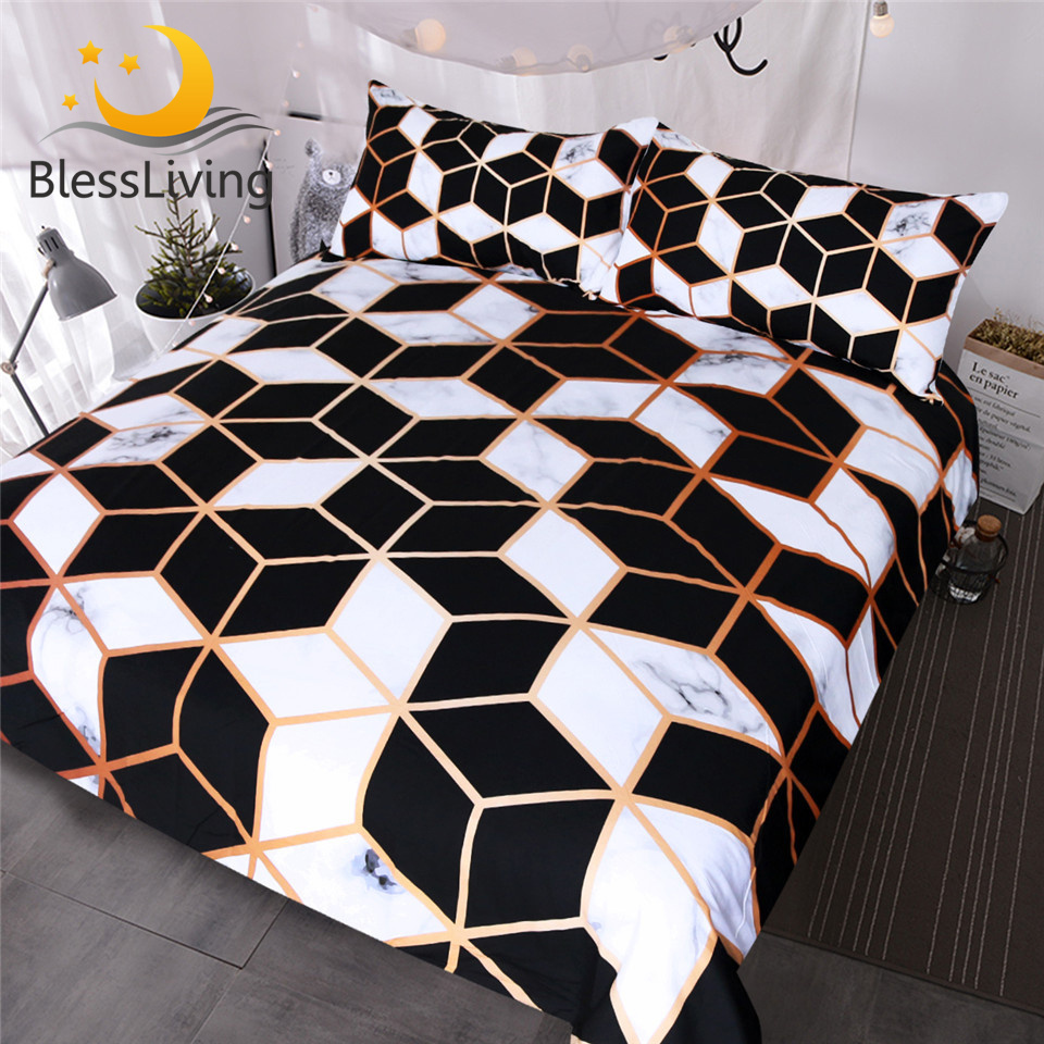 US $27.84 45% OFF|BlessLiving Geometric Bedding Set Black White Duvet Cover  Set Marble Print Blocks Cube Bed Cover Fashionable Bedspreads Queen-in ...