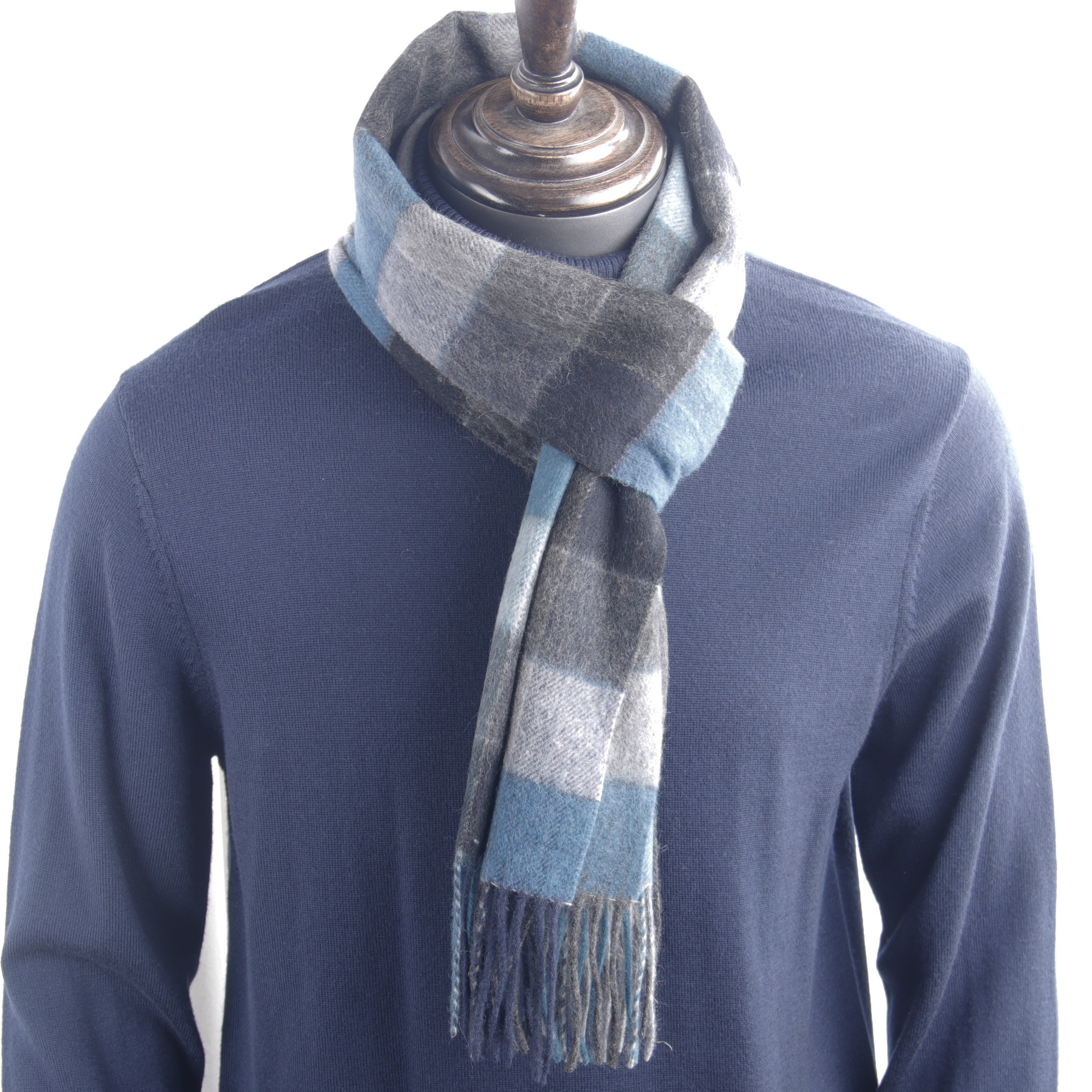 2020 Highly Selected 100% Wool Multi Color Plaid Scarf Blue Black Grey, Warm Winter Men Scarf Comfortable Material