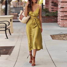 Fashion Satin Tie Waist Spaghetti Strap Wrap Dress Sexy Slim Midi Dress Summer 2019 Solid Color Deep V Neck Women Party Dress spaghetti strap satin wrap dress