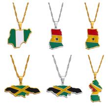 Anniyo kolorowe flagi Nigeria Ghana jamajka gujana mapy stal nierdzewna i wisiorek emaliowany naszyjniki biżuteria narodowa #122921 tanie tanio Miedzi STAINLESS STEEL Kobiety Wisiorek naszyjniki CN (pochodzenie) Etniczne Wody-łańcuch fali Metal None Ślub Moda
