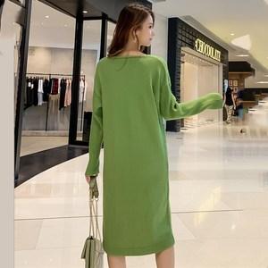 Image 2 - Трикотажное хлопковое винтажное платье с длинным рукавом размера плюс, женское Повседневное платье свитер средней длины на осень и зиму, элегантная одежда 2019, женские платья