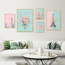 Pink Flower Canvas Painting Cactus Nordic Poster Abstract Art Print Tower Wall Picture For Living Room
