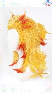 Image 3 - Демон убийца: Kimetsu No Yaiba Rengoku Kyoujurou Косплей парики волос парик + Бесплатный парик