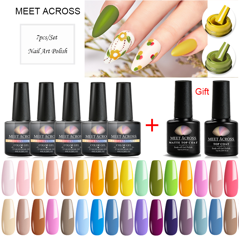 MEET ACROSS 7PCS/Set Gel Nail Polish Set 8ml Gel Polish Nail UV Gel Set For Gel Varnish Manicure Set For Nail Art Gel Lacquer