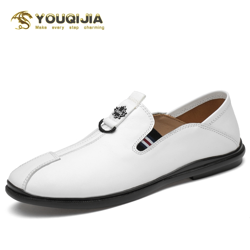 Mens Fashion Casual Boat Shoes Driving Flat Sneaker Slip On Loafers Cowhide Shoe