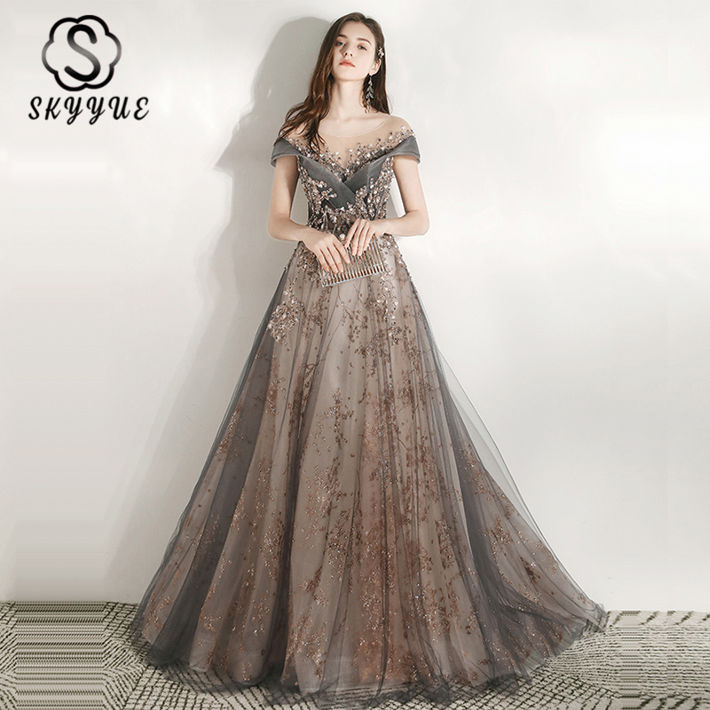 Skyyue Luxury Evening Dresses O-Neck Short Sleeve Tulle Plus Size Party Dress K297 2020 New Sequined Appliques Long Formal Gown