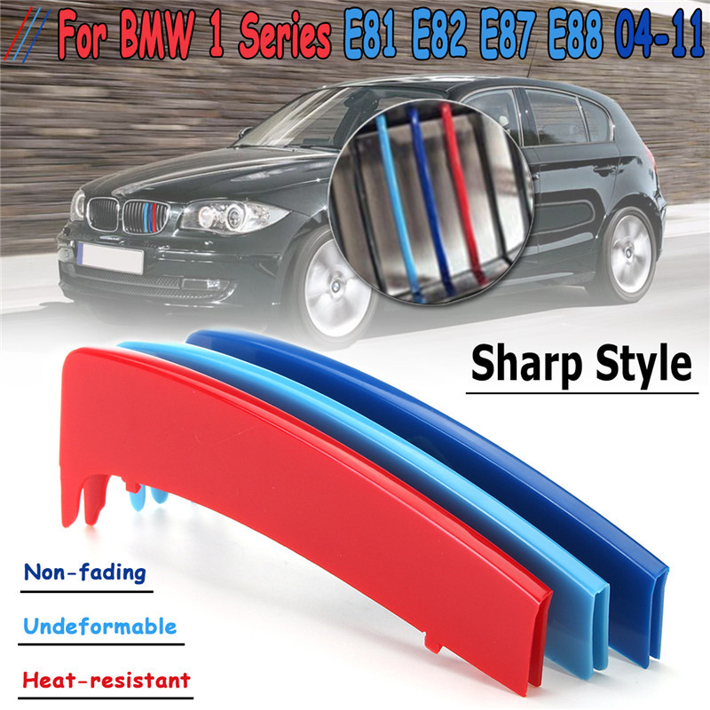 3D Sport M Style Color Grille Grill Cover Clip Trim For BMW 1 Series E81 E82 E87 E88 2004 2005 2006 2007 2008 2009 2010 2011
