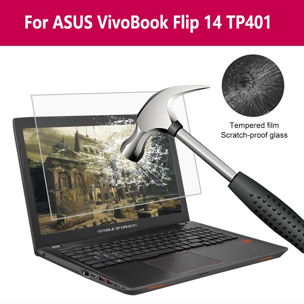 For Asus Vivobook Flip 14 Tp401 Laptop Screen Protector Notebook Tempered Glass 0.3MM 9H Transparent Protective Film
