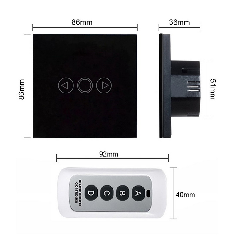 EU Standard Touch Dimmer Touch Switch 1 Gang 1 Way Crystal Glass Panel Switch Remote Control Light Dimmer Switch 170V 220V in Switches from Lights Lighting