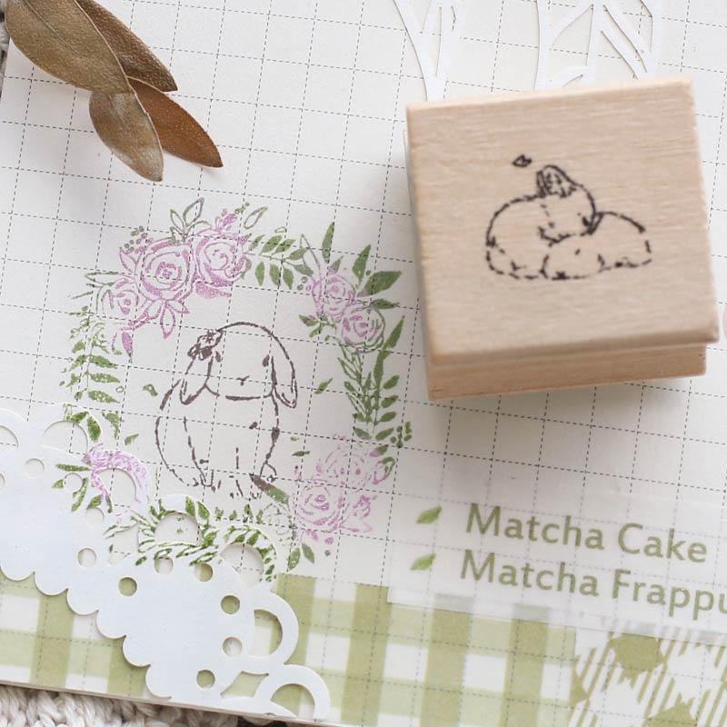 Vintage Wreath Rabbit Animal Decoration Stamp Wooden Rubber Stamps For Scrapbooking Stationery DIY Craft Standard Stamp