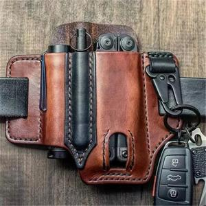Leather Sheath For Leatherman Multitool Sheath EDC Pocket Organizer With Key Holder For Belt And Flashlight Camping Outdoor Tool