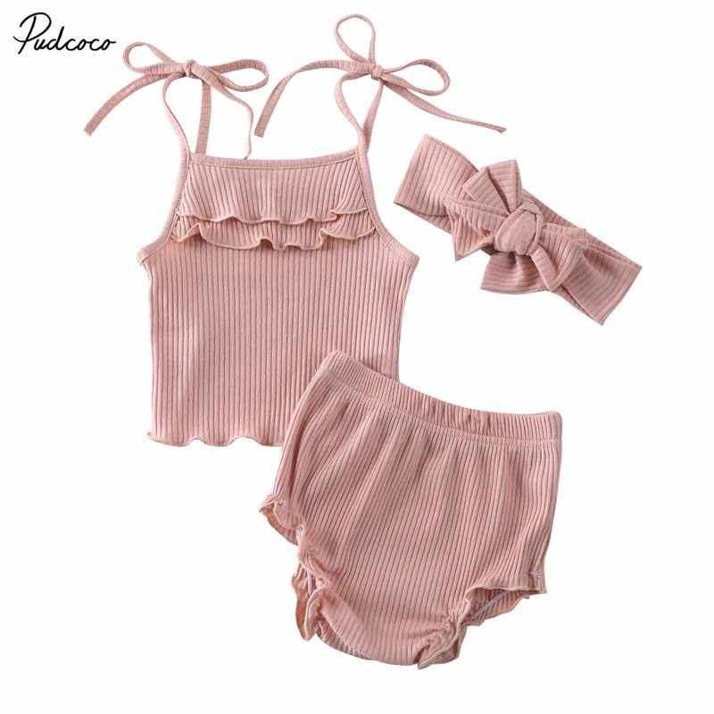2020 Baby Summer Clothing Newborn Infant Baby Girl Knitted Clothes Ruffled Vest Top Shorts Headband 3Pcs Ribbed Outfit Set